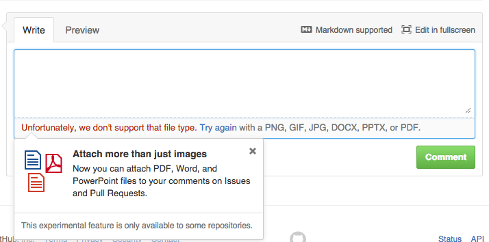 GitHub experimental attachment formats: PDF, DOCX and PPTX!?!