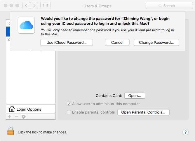 Screenshot taken after I've changed to a local password. After initial setup, it would be the reverse.
